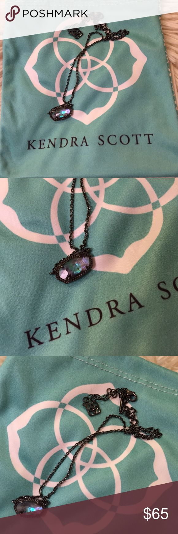 Kendra Scott Elisa necklace - gunmetal/abalone Kendra Scott Elisa necklace. Never worn, exclusive piece! 15in! Comes with KS pouch! Kendra Scott Jewelry Necklaces
