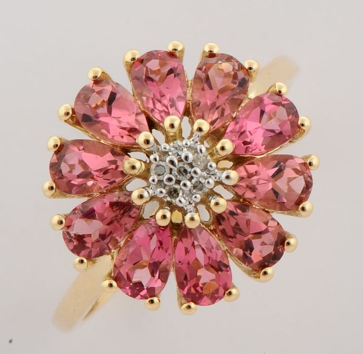 PINK TOURMALINE 2.00 CT GEMSTONE DIAMOND FLORAL RING IN 9 KT YELLOW GOLD #R5147 #DJOYER #Floral