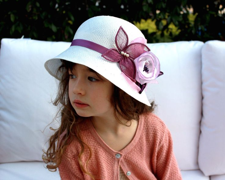 Little Girls Hat with Flower, Childrens Summer Hat, Kids Spring Hat, Girls Tea Party Hat Special Occasion Wedding Hat for Girls by NadineMillineryKids on Etsy https://www.etsy.com/listing/226402581/little-girls-hat-with-flower-childrens