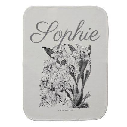 #Vintage/Victorian Flowers Personnalised Burp Cloth - #flower gifts floral flowers diy