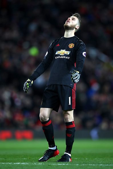 David De Gea of Manchester United reacts during the Premier League match between Manchester United and West Ham United at Old Trafford on November 27...