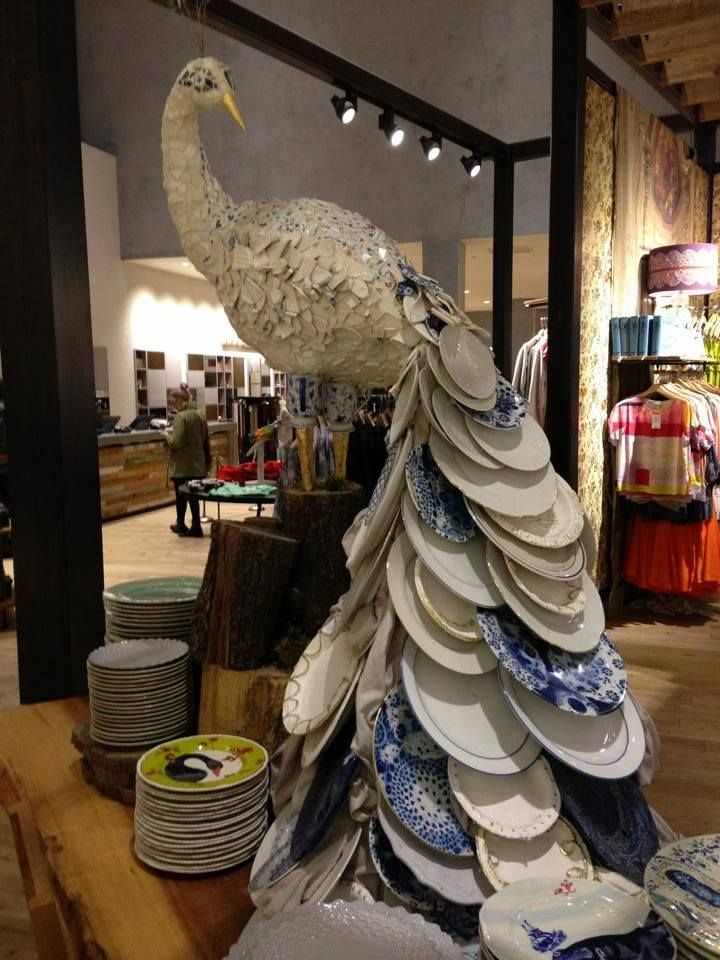Peacock display in Anthropologie at The Grove in Los Angeles made from broken dishes