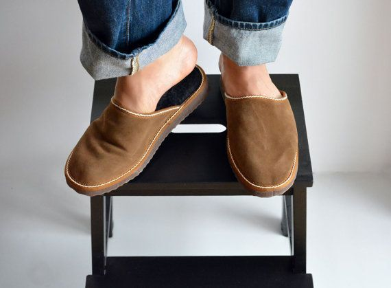 Brown handmade slippers for men made with suede by lefushop