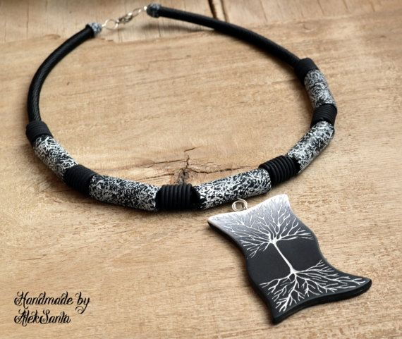 Tribal necklace Tribal jewelry Black and white necklace Tree
