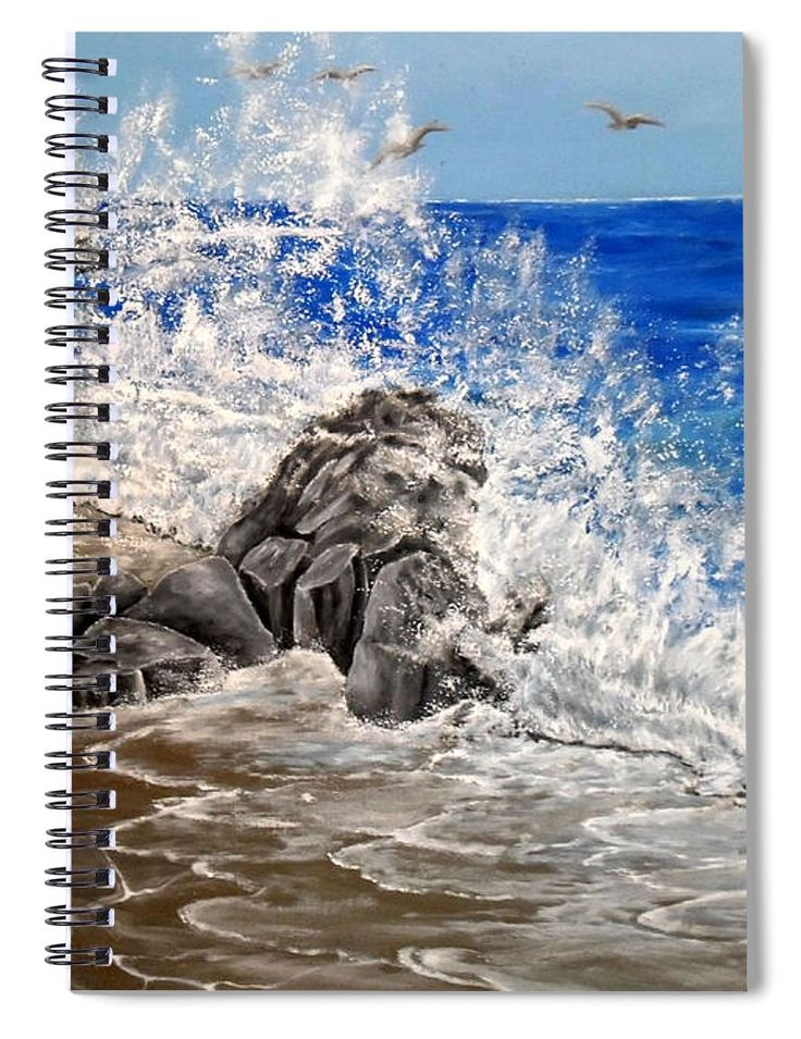 Spiral Notebook,  stationery,school,supplies,cool,unique,fancy,trendy,awesome,beautiful,design,unusual,modern,artistic,for,sale,items,products,office,organisation,coastal,waves,nature,blue