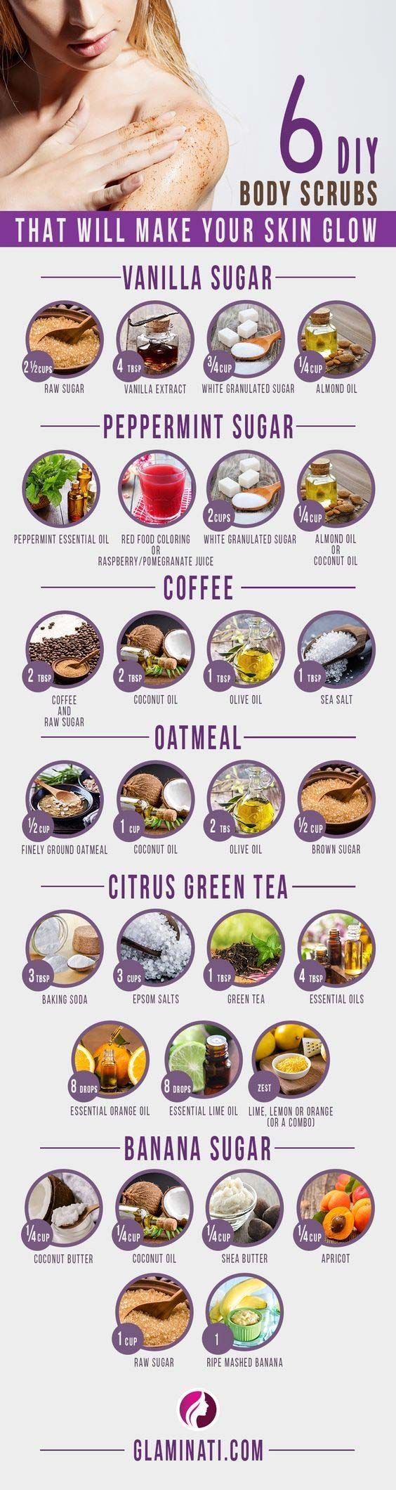 DIY Body Scrubs That Will Make Your Skin Glow And#8211; Infographic ★ See more: http://glaminati.com/simple-diy-body-scrubs/