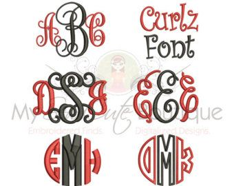 Embroidery Fonts Pack Embroidery monogram by mysewcuteboutique