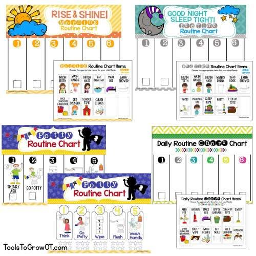 Daily routine chart for children at home. Increase independence with morning routine, evening routine, after school routine, toileting/potty skills, and daily chores!