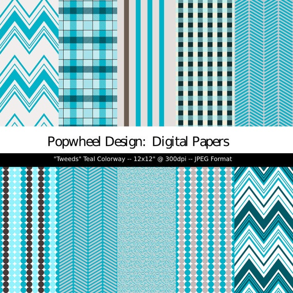 Digital Paper Pack in Aqua, Teal, and Grey -- Plaid, Tweed, and Stripes.
