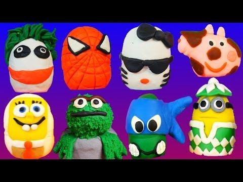 134 PLAY DOH Kinder Surprise Eggs Peppa Spongebob Superheroes Play-Doh Mix by DisneyCarsToyClub - YouTube