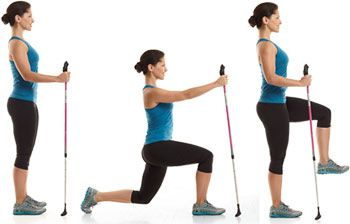 Rear Lunge With Knee-Up Targets: Core, Butt, Thighs  Stand with right hand on pole, as shown. Lunge back with left leg, lowering knee tow...