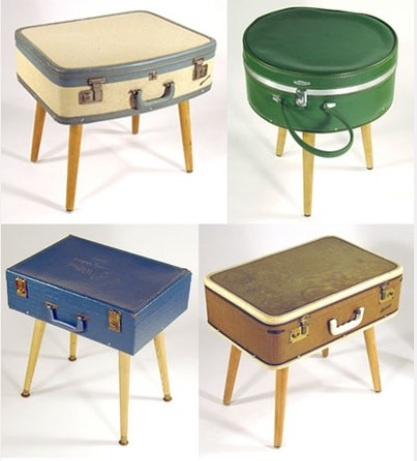 old suitcase end tables