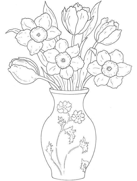 Colouring Pages Of Flowers In Vase : 704 best crafts ~ coloring pages images on pinterest