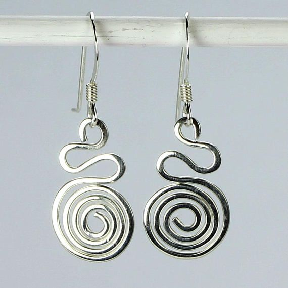 Spiral Earrings Sterling Silver Earring Wire Wrapped