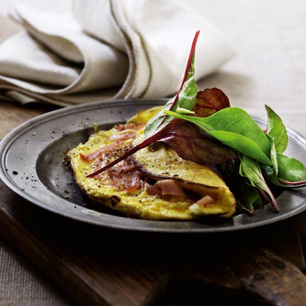 Omelet med ricotta og skinke