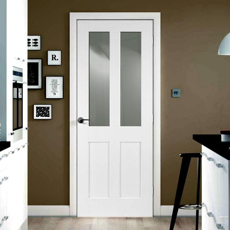 Door Set Kit, Malton Shaker Door - Clear Safe Glass - Primed. #whitedoor #shakerdoor #glazeddoorsetkit
