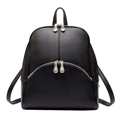 Fashion Women PU Leather Handbag Campus Shoulder Book Bags Travel Backpack Black