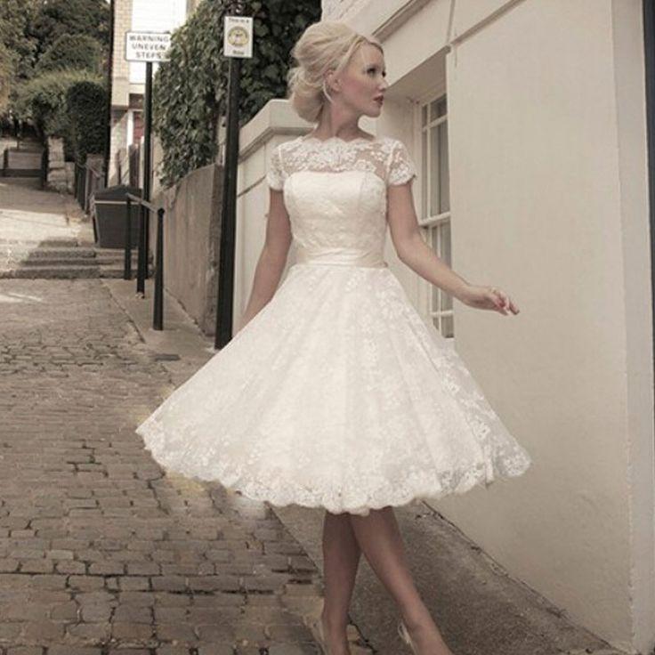 Wedding Dresses 2015 Vintage Plus Size Scoop Lace Short Wedding Dresses Garden Bridal Gown