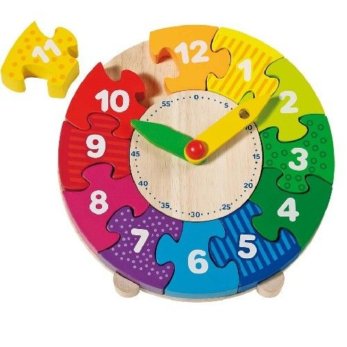 Colourful Rainbow Wooden Clock puzzle