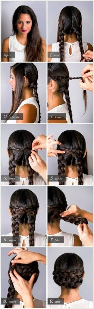 Hair Braid Bun / Wrap (I brightened the picture to see the demonstration better on her dark hair)