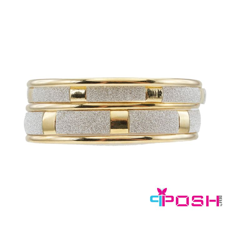 """- Set of 5 bangles - Gold tone metal with 2 bangles encrusted with silver crystals - Dimension: 0.12"""" width of each thin band, 0.31"""" width of each thicker band"""