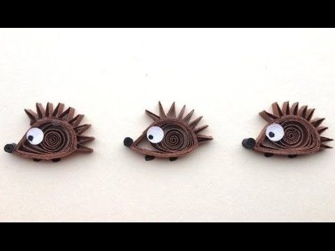 Art & Craft How to make Quilled Hedgehogs card, Woodland Animal animal c...