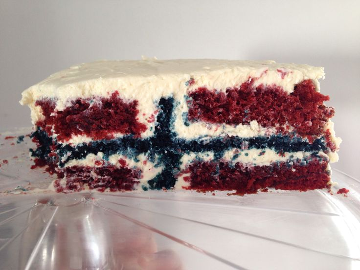 Norwegian flag cake for the national constitution day in Norway, 17. Mai (17. of may)