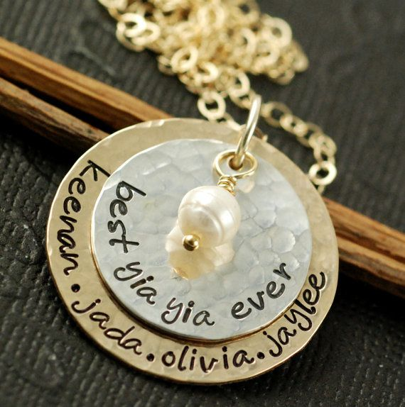 Hand Stamped Necklace Personalized Jewelry  Gold and by AnnieReh