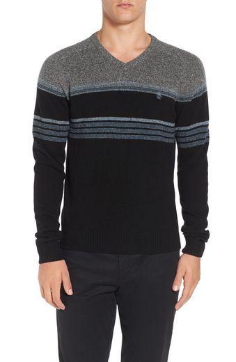 Original Penguin Engineered Stripe Lambswool V-Neck Sweater