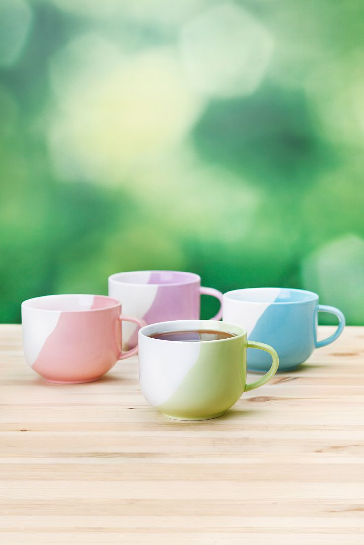 SPRING 2015 - These porcelain mugs are hand-dipped, so each one is unique. Now for the tough decision... which colour to pick? Of course, you can always mix and match...