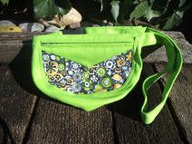Neon green and floral canvas belt bag