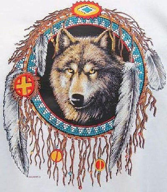 Native American Indian Wolf Dream Catcher Adult Unisex T Shirt 5032