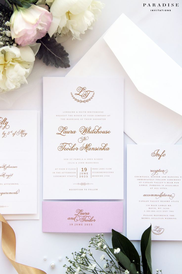 Laura Gold and Pink Wedding Invitation Sets, Modern Calligraphy Invitations, Wedding Invitation Sets Kits, Golden Wedding Invites