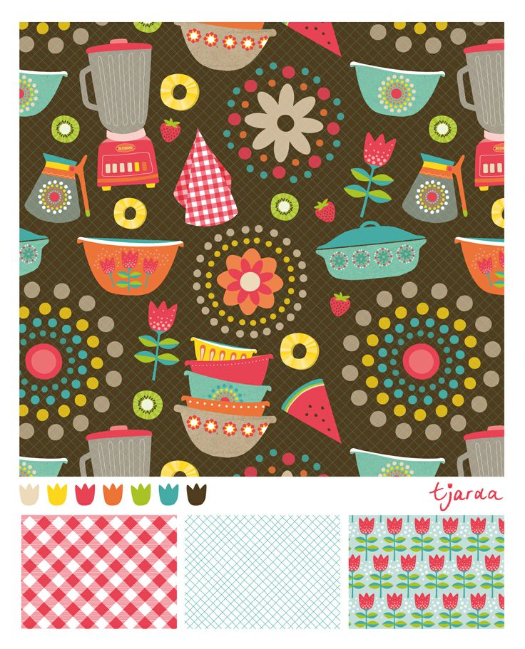 Pattern I made for MATS (Make art that sells, Lilla Rogers). Exotic fruits and Pyrex bowls.