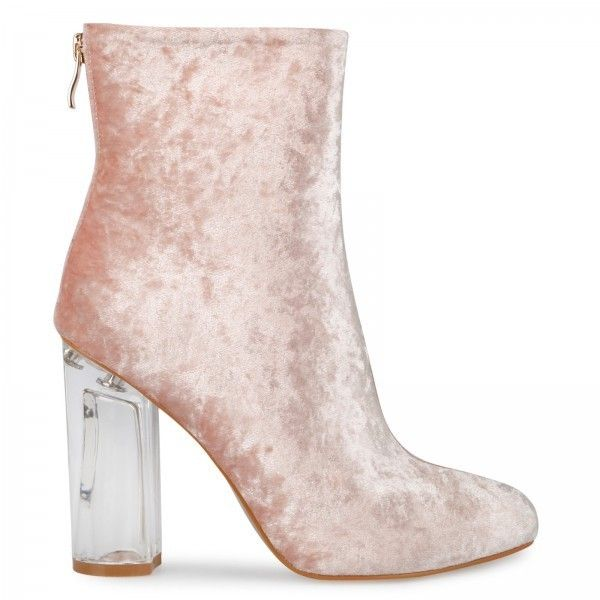 Amaris Pink Velvet Ankle Boot with Perspex Heel ($52) ❤ liked on Polyvore featuring shoes, boots, ankle booties, ankle bootie boots, pink booties, clear-heel boots, bootie boots and short boots