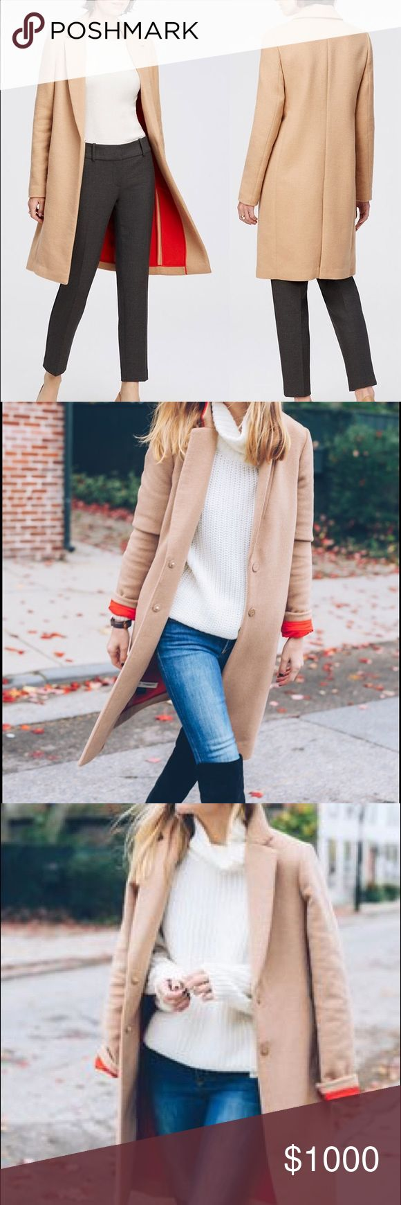 ISO‼️Ann Taylor XSP camel coat‼️ Ann Taylor xsmall petite camel coat with red lining. It's from the 2015 winter collection (last year) and I want it desperately. Please let me know if you have one or have seen one. Ann Taylor Jackets & Coats