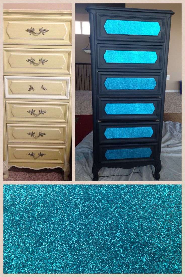 DIY vintage dresser for kids room painted with plaster paint, mod podge drawer face with glitter wrapping paper. Just need to add the custom black & white pull knobs.