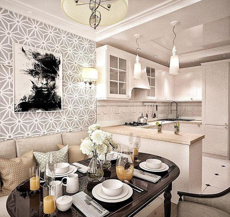 """Утвержденный вариант дизайна интерьера по ул. Пирогова. Кухня, с разделением зоны: на рабочую и обеденную, в стиле неоклассика, общая площадь квартиры 63 м2. В интерьере преобладают основные цвета: серый, бежевый, белый и чёрный с присутствием минимализма, как говорится, ничего лишнего Дизайнер Ефремова Надежда @nadie_ef #и%‰Ö•""""¥ˆ2…"""