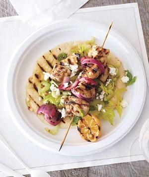 Lemony Chicken Souvlaki With Celery and Feta recipe