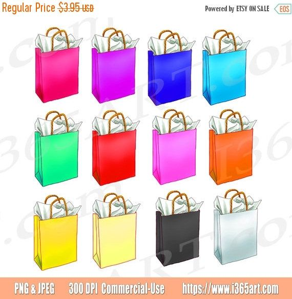 50% OFF Shopping Bag Clipart, Shopping bag Clip art, Shopping clipart, Gift Bag Clipart, Birthday, Shopping Graphic, Scrapbooking, Digital by I365art