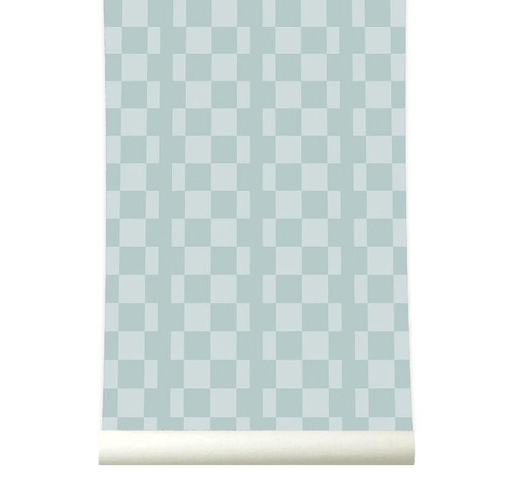 Behangpapier Retrosquare Pastelgreen