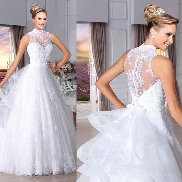 Vestidos de noiva de alta pescoço abrir voltar vestido de noiva vestido de casamento vestido de casamento de trem removível vestido de princesa LT16