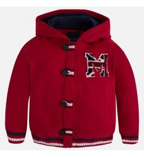 Chlapčenský sveter Mayoral  s kapucou - červený