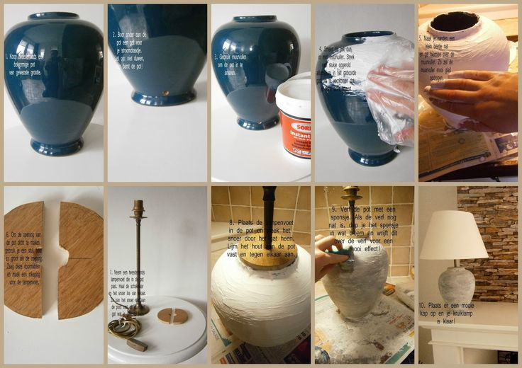 Made with your own love! Hoe je van een pot een lampenpoot kunt maken. #DIY #muurvuller #kruiklamp