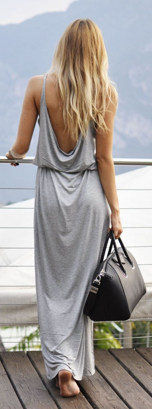 Simone Moelle Grey Backless Maxi Dress