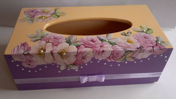 wooden tissue box cover roses and pearls by PtahArtGallery on Etsy, €32.00