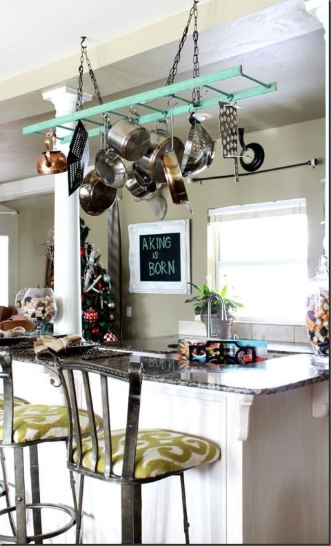Stop stooping into low cabinets to rifle through your supply of pots and pans. There's a certain ease (and a casual design element) to hanging them overhead. See more at Refunk My Junk »