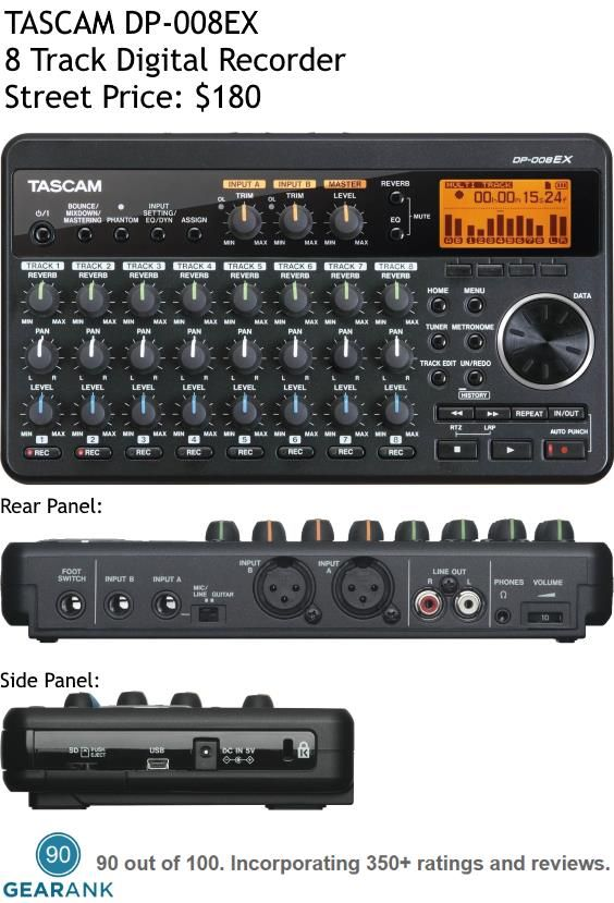 The TASCAM DP-008EX is one of the highest rated 8 Track Digital Recorders. It lets you record 2 tracks and mix 8 tracks simultaneously - also each track has 6 levels of undo/history.