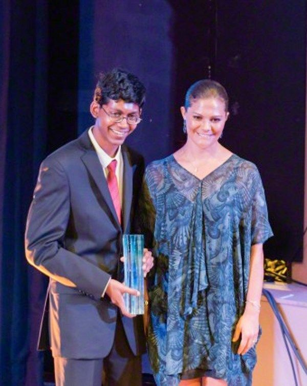 "The Crown Princess Victoria of Sweden (R) poses for photo with the U.S. student Perry Alagappan, winner of the 2015 Stockholm Junior Water Prize for ""Novel renewable filter for heavy metal removal"", in Stockholm, Sweden, on Aug. 25, 2015."