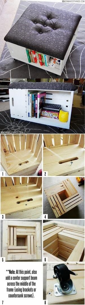 DIY Ottoman with Storage: This DIY ottoman is easy to put together with some cheap wooden crates and gives you additional seating and storage at the same time. by agnes